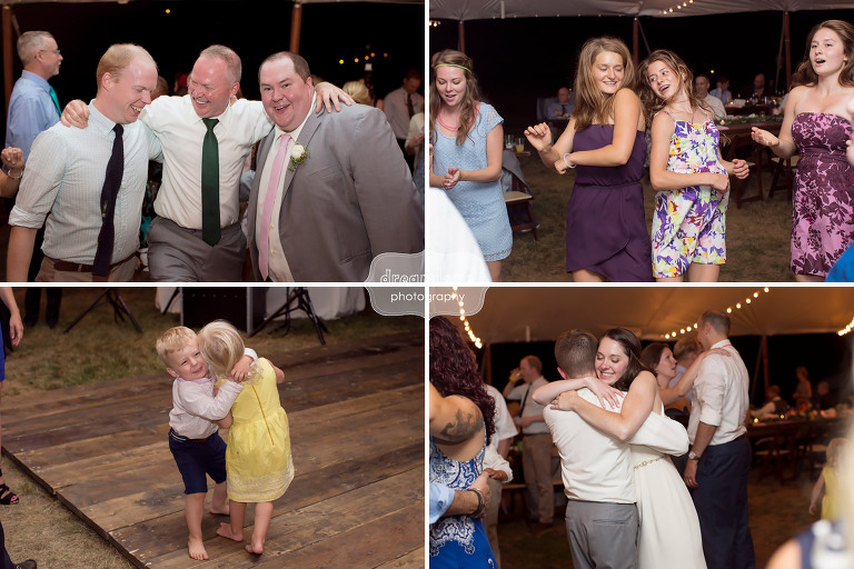 Wedding guests dancing at this camp wedding venue in southern NH at the Woodbound Inn.