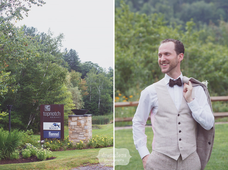 Candid portrait of the sartorial groom wearing a custom 1701 Bespoke suit and bowtie at the Topnotch Resort in Stowe, VT.