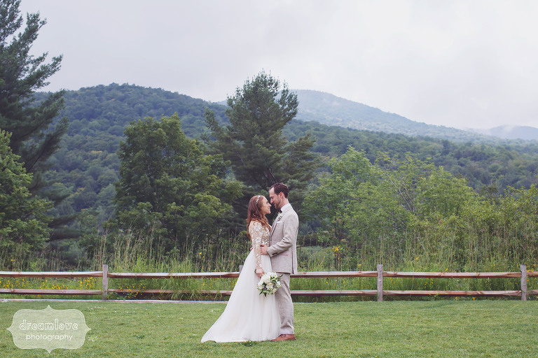 Fine art film style photo of the bride and groom in Stowe, VT.