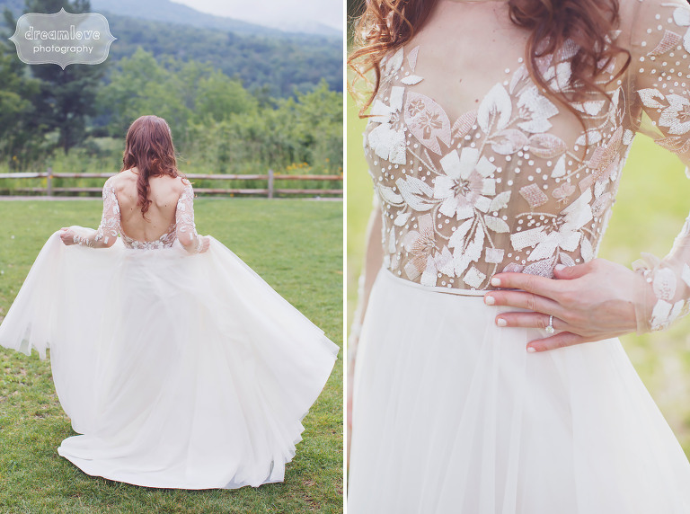 Ethereal wedding photos of the bride in her Hayley Paige Remington wedding dress in Stowe, VT.