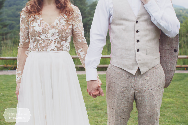 Hipster wedding portrait of the bride and groom in Hayley Paige and Bespoke at their Stowe, VT wedding.