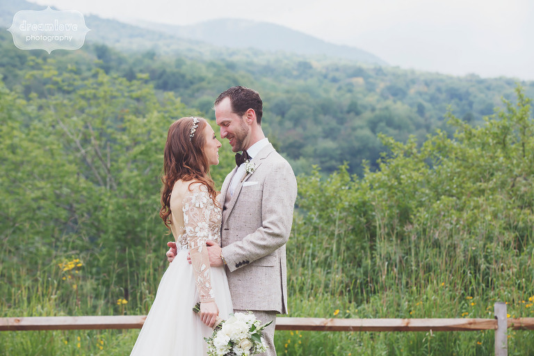 Documentary wedding photo of the bride and groom at Stowe, VT.