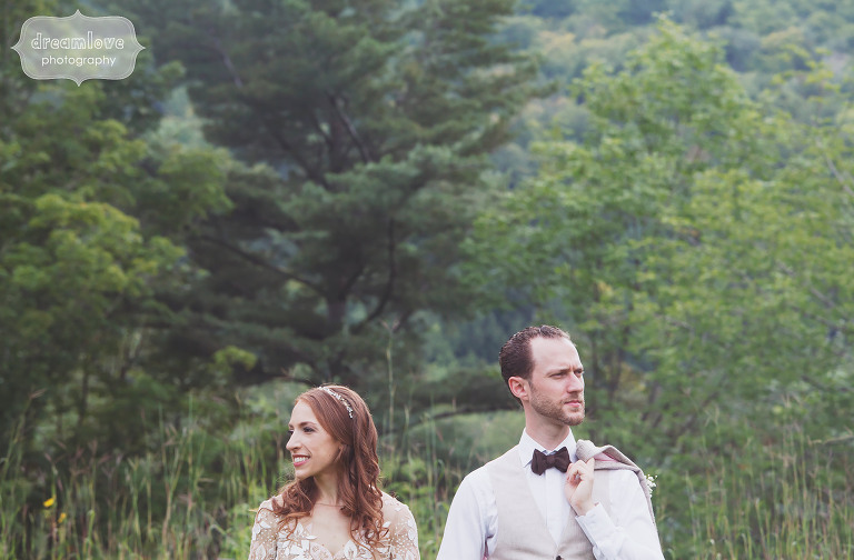 Film style wedding photo of the bride and groom at their rustic wedding in Stowe, VT.