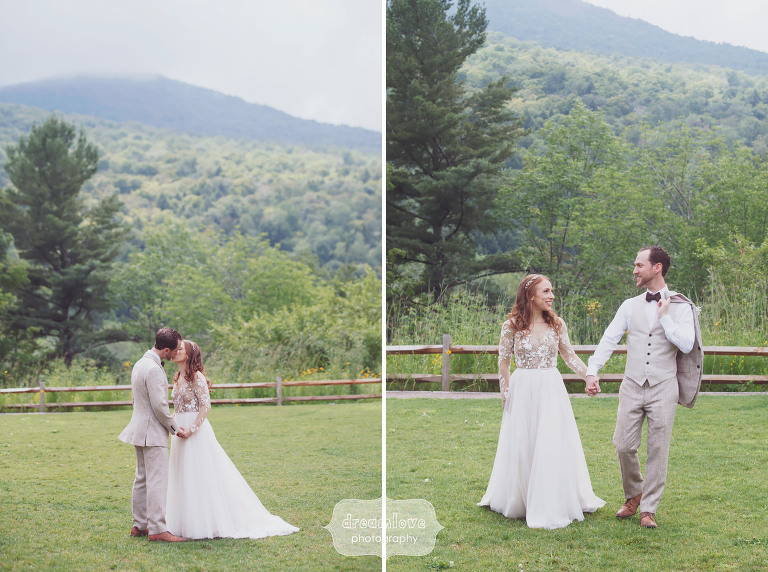 Romantic wedding photo of the bride and groom at the Topnotch Resort in VT.