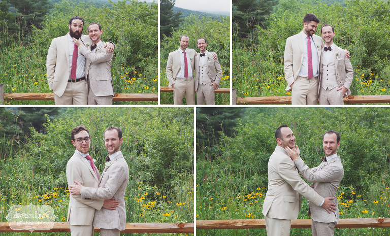 Groomsmen being silly at this Topnotch Resort wedding in Stowe, VT.