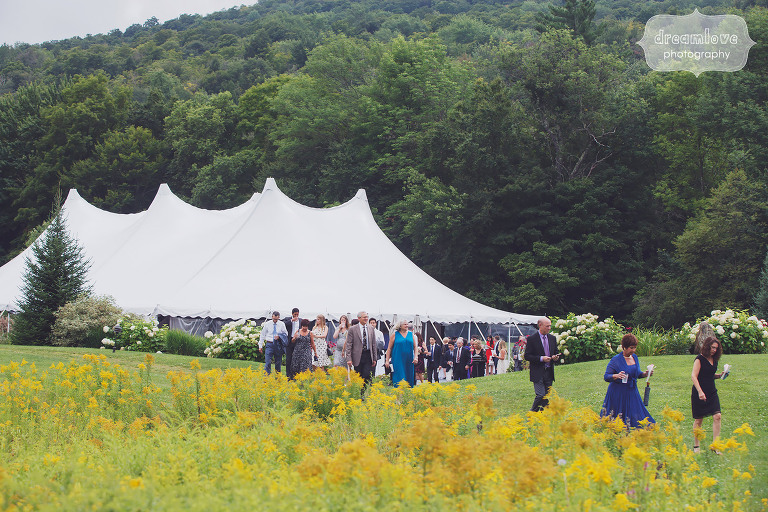 View of the sailcloth reception tent at the Topnotch Resort in Stowe, VT.