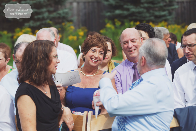 Candid photos of wedding guests at this Topnotch Resort in Stowe, VT.