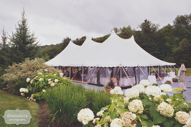 The wedding reception tent and gardens for this Topnotch summer wedding in VT.