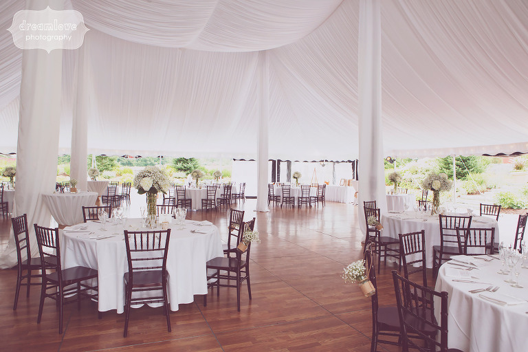 The dinner tables are set up under this sailcloth tent at Topnotch in Stowe, VT.