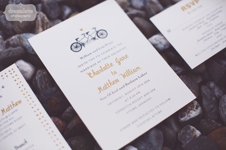 Bicycle themed custom wedding invitations for a rustic wedding in Stowe, VT.