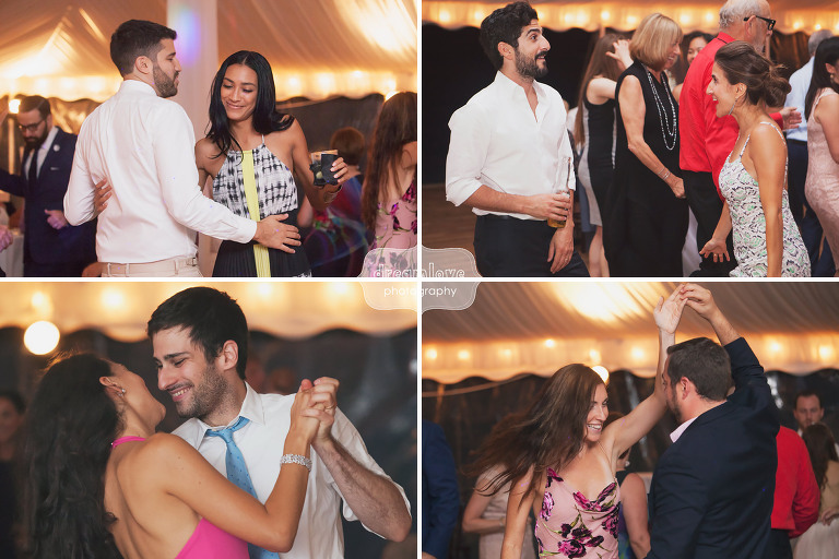 Candid photos of wedding guests dancing at Topnotch in Stowe, VT.