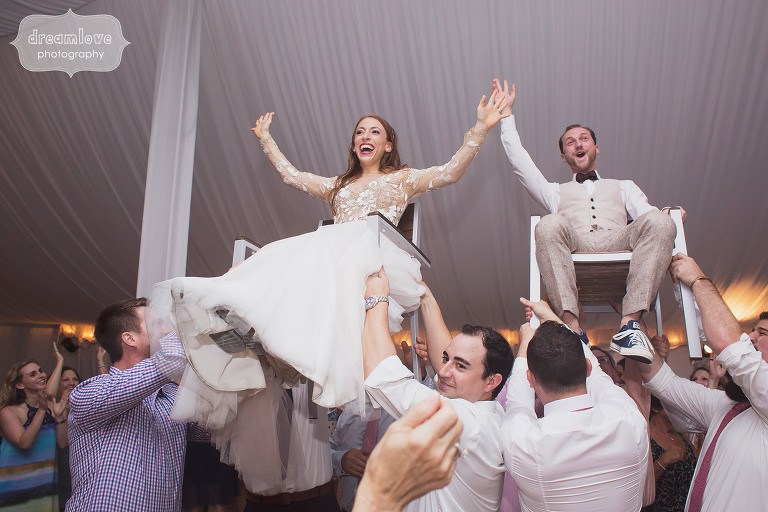 Bride and groom do the Hora dance at their Topnotch Resort wedding in Stowe, VT.