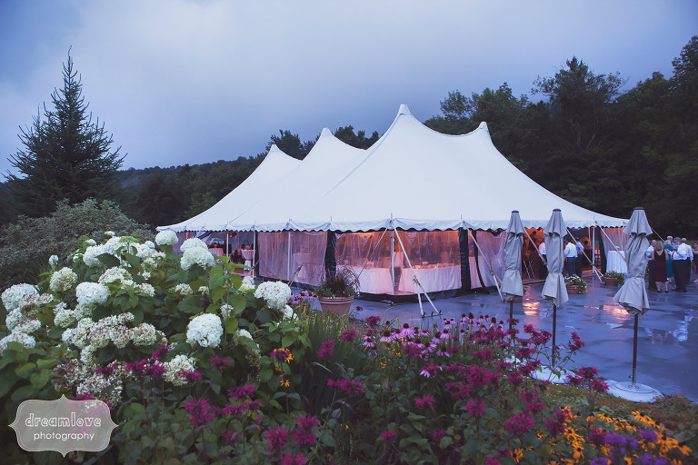 View of the reception tent for this summer wedding at Topnotch Resort in Stowe, VT.