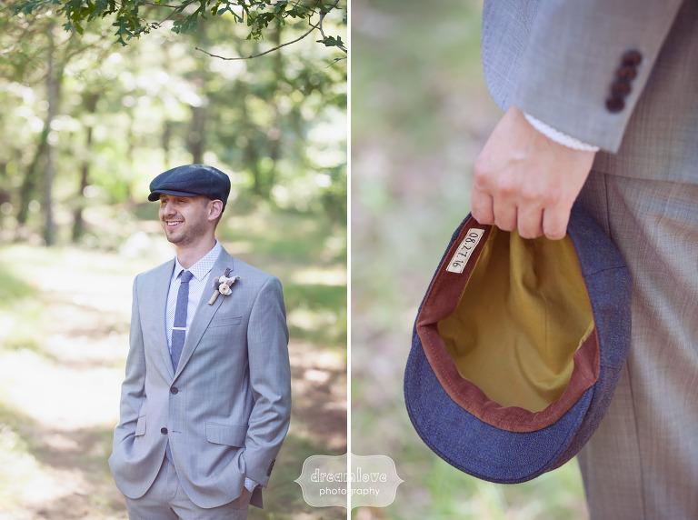 Groom wearing an Otis James newsie hat and Topman tie at wedding