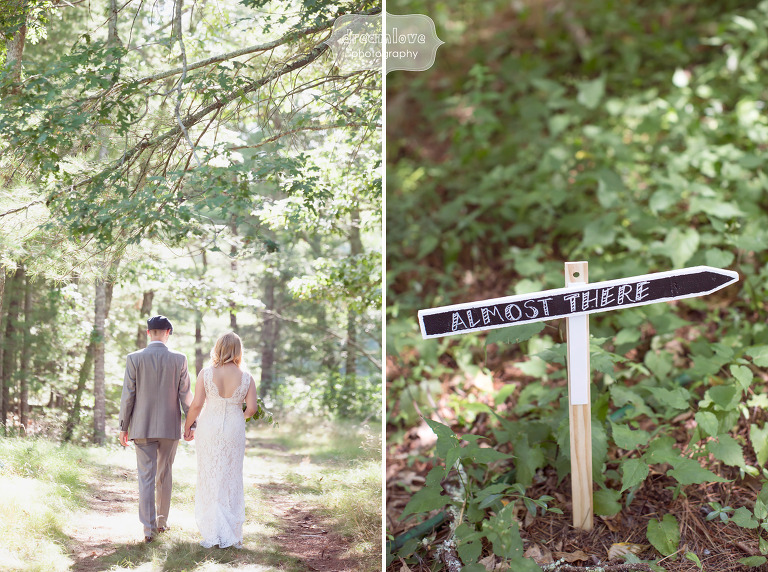 Bride and groom walking through the woods at this rustic Cape Cod wedding