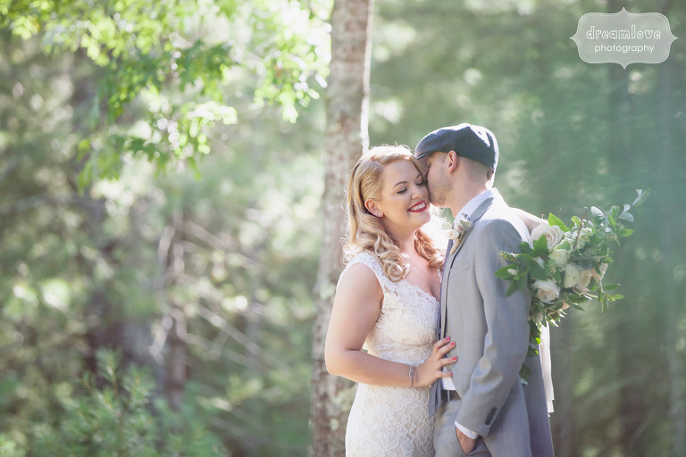 Romantic wedding photo of the bride and groom at Overbrook House.