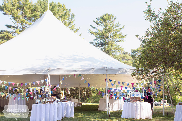 Cape cod reception tent set up at the Overbrook House