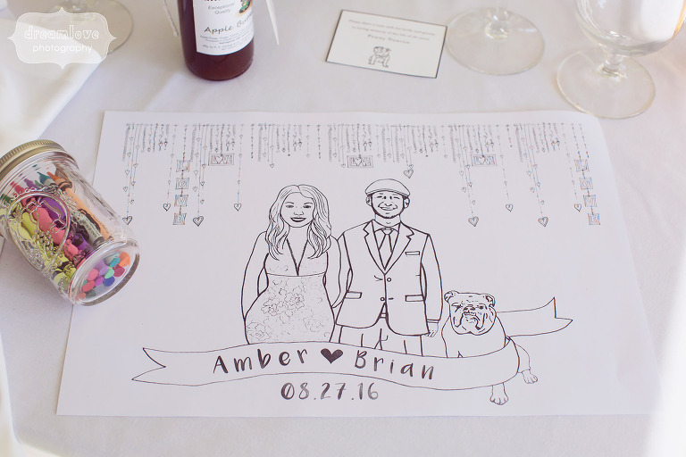Custom wedding placemats with the bride and groom's faces on them.