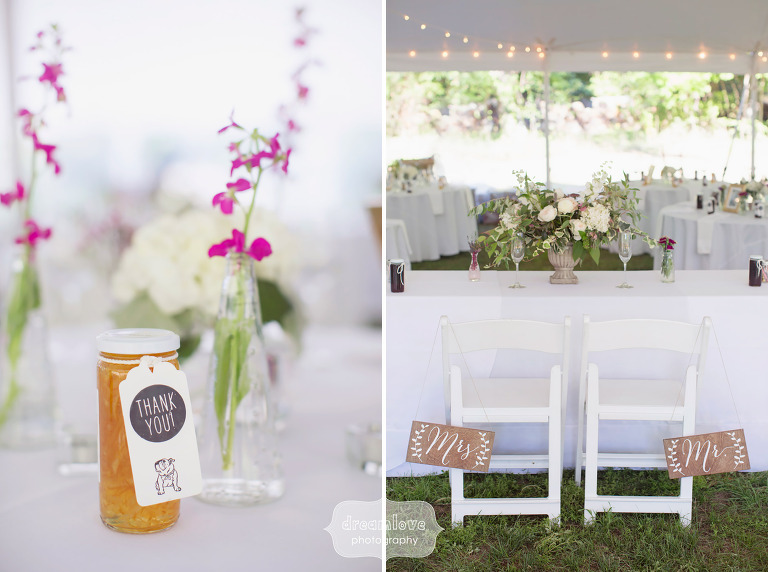 Jelly guest favors by RE Kimball for this rustic Cape Cod wedding.
