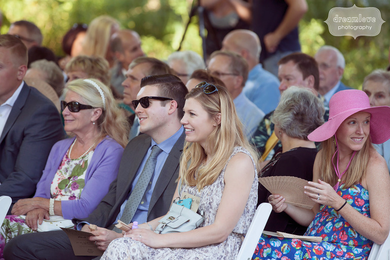 Candid photos of wedding guests at the Overbrook House in MA.