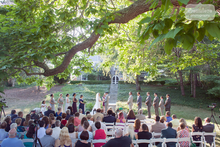 Overview of the rustic wedding Cape Cod at Overbrook House in MA.
