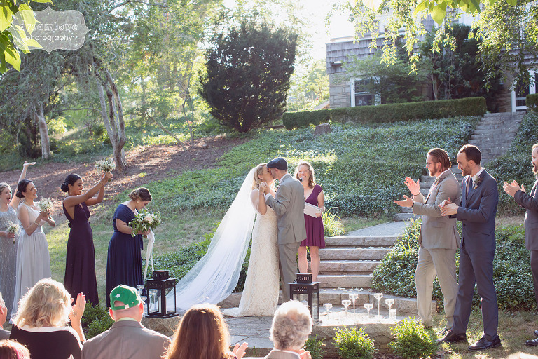 Natural wedding photography of this outdoor ceremony on Cape Cod.
