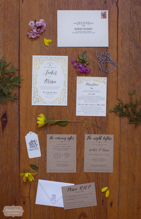 Rustic wedding invitations by Minted for Cape Cod wedding.
