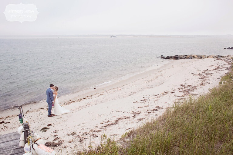 Bride and groom on the beach for their Cape Cod wedding.