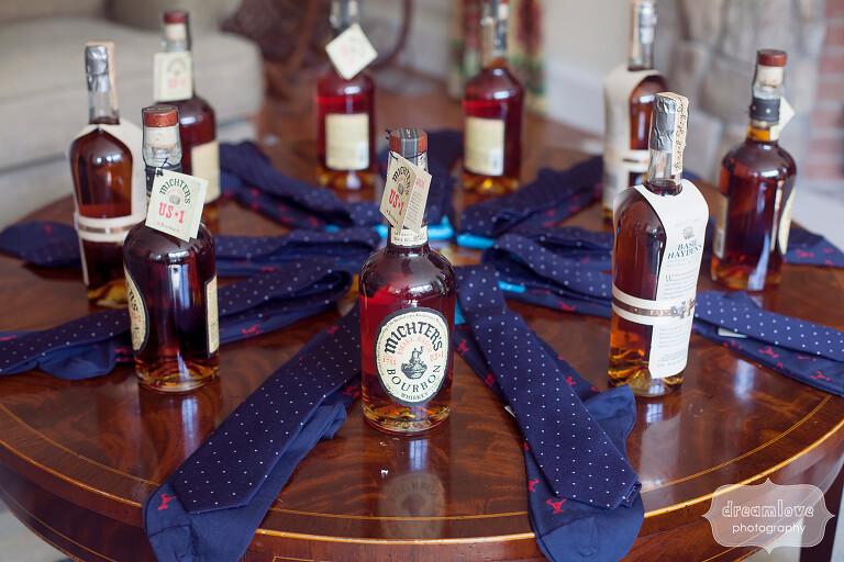 Michters Bourbon bottles as groomsmen gifts.