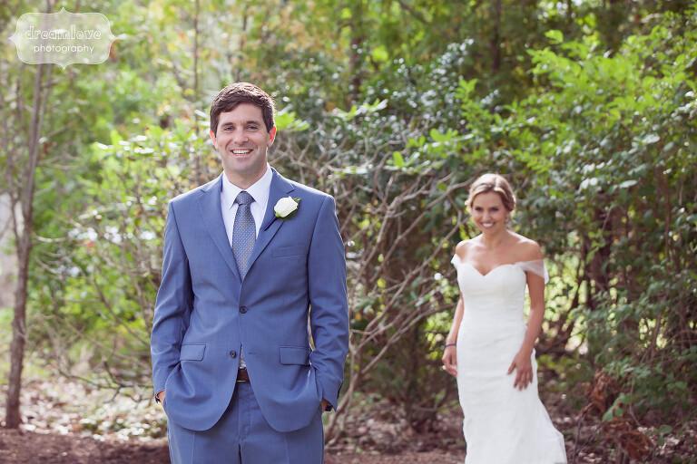 First look photo Cape Cod beach wedding.
