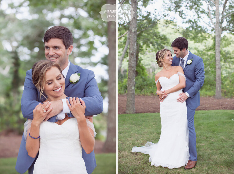 Portraits of the bride and groom on Great Island for Cape Cod wedding.