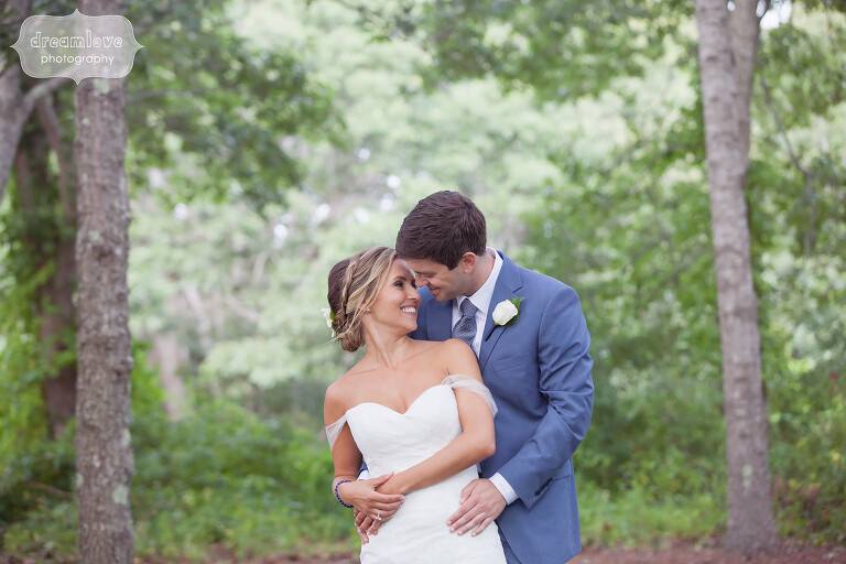 Ethereal portrait of the bride and groom before their beach wedding on Cape Cod.