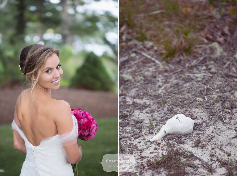 Beach bride photo on Cape Cod with shell.