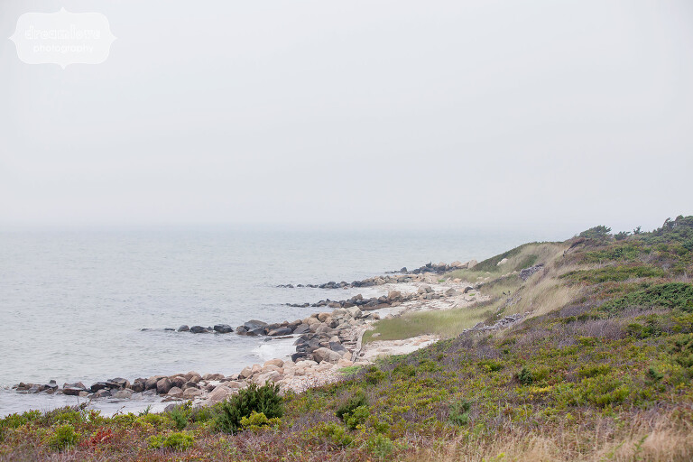 View from Point Gammon lighthouse on Cape Cod with ocean.