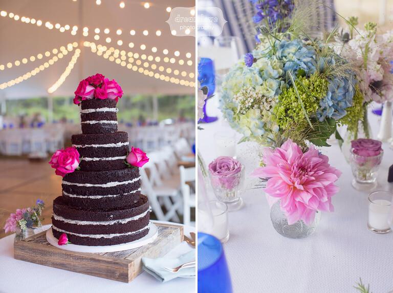 Naked chocolate wedding cake for Cape Cod beach wedding.