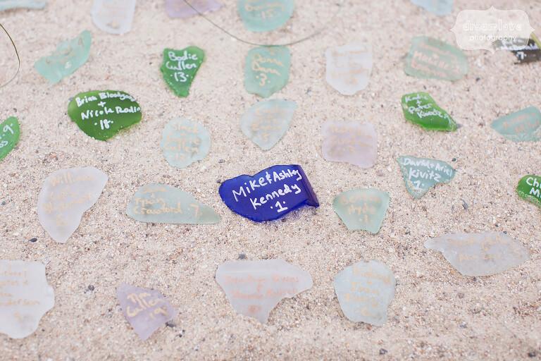 Beach glass as escort cards idea for beach wedding on Cape Cod.