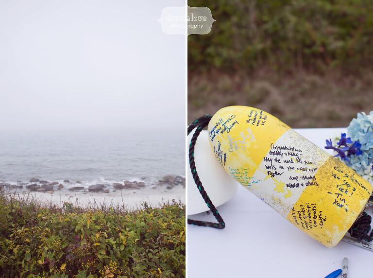 Unique idea for a beach wedding guest book buoy.