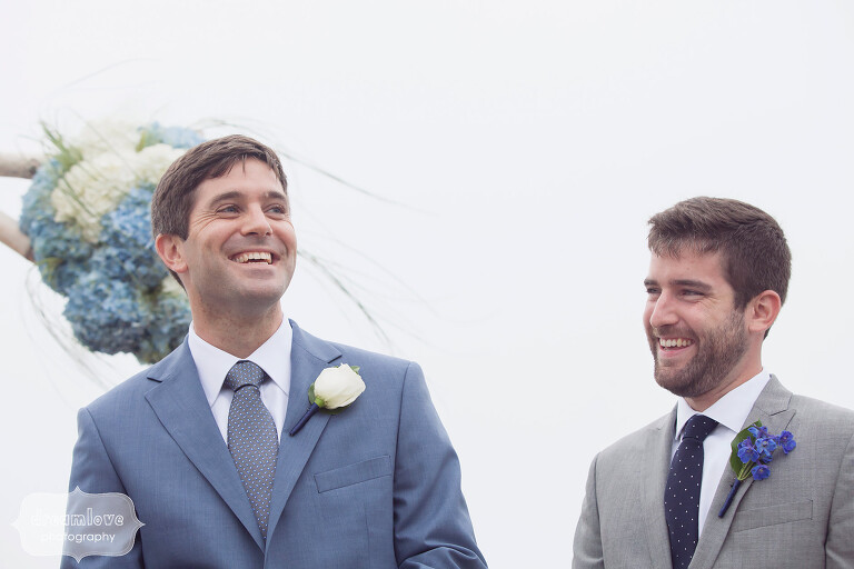 Groom seeing bride walk down the aisle at this Cape Cod beach wedding.