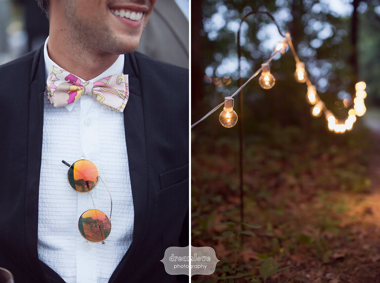 Hipster wedding guests with cafe string lights on Cape Cod.