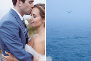 Fine art wedding photography of bride and groom with birds on Cape Cod.