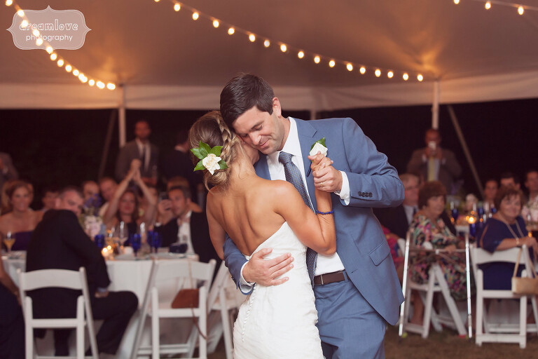 Emotional first dance photo on Cape Cod.