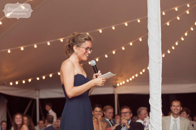 Candid wedding speech photo on Cape Cod.
