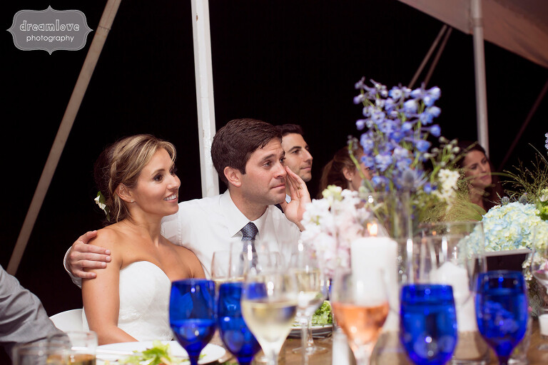 Documentary wedding photography during speeches on Cape Cod.