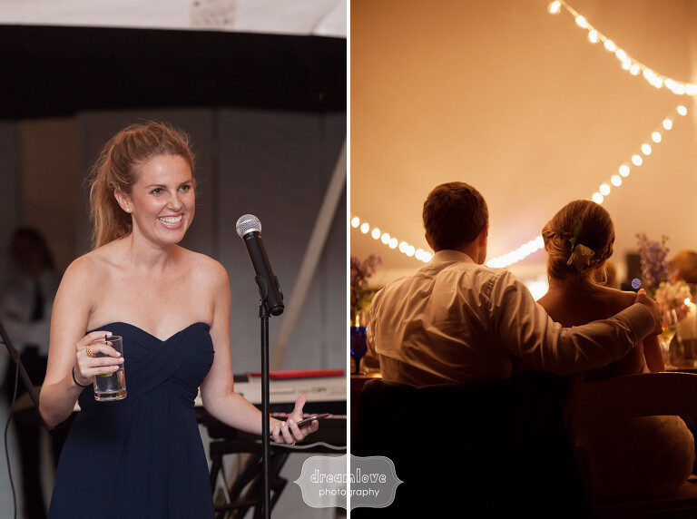 Romantic photo of the bride and groom under cafe lights in Cape Cod reception tent.