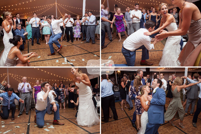 Funny photos of groom doing the Zeibekiko dance at this Cape Cod greek wedding.