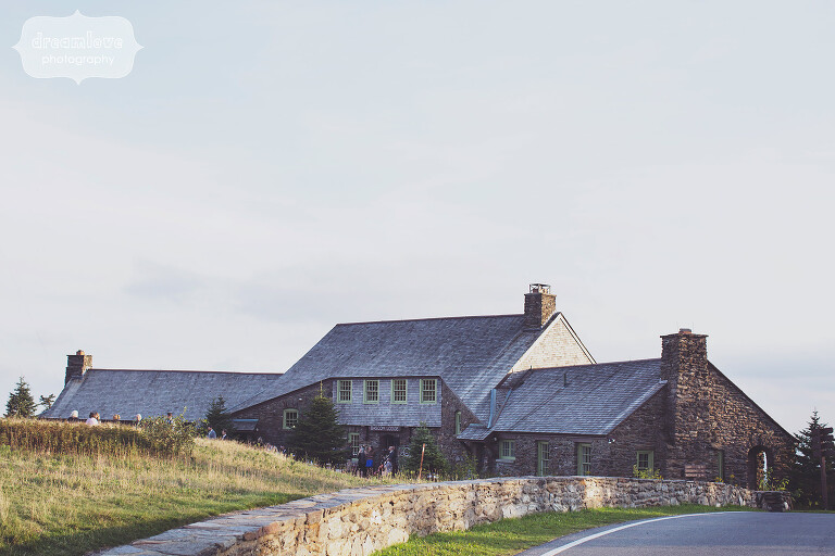 View of the Bascom Lodge on Mt. Greylock for a wedding venue.
