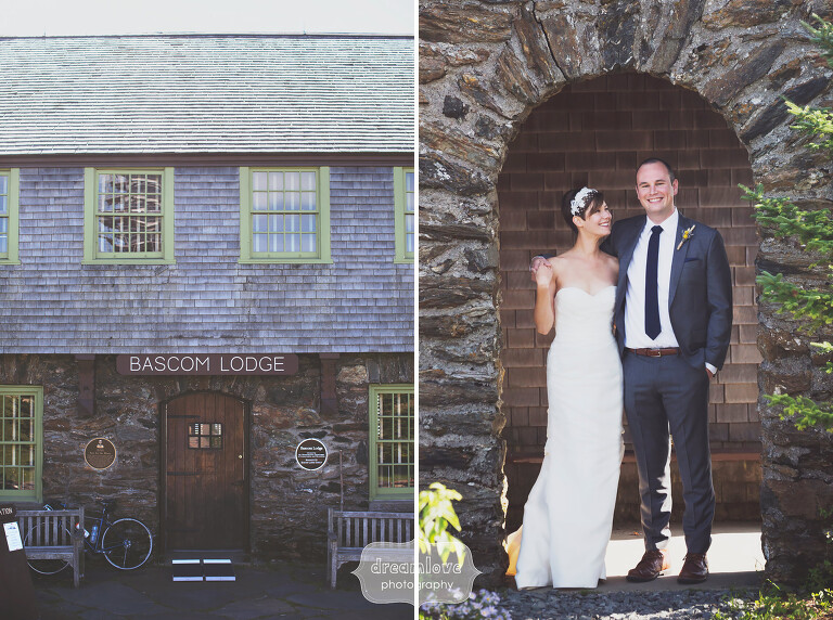 Rustic wedding photo of the bride and groom at the Bascom Lodge.