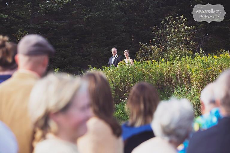 Field wedding ceremony at the Bascom Lodge on Mt. Greylock.