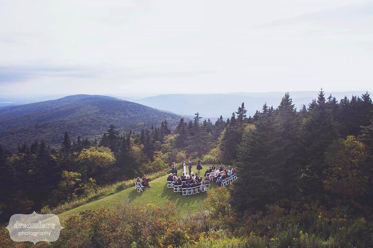 Berkshires mountain wedding ceremony on Mt. Greylock in western MA.