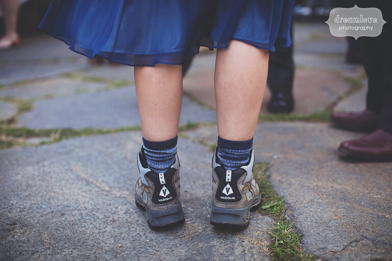 Hiking boots at this outdoorsy wedding along the Appalachian Trail on Mt. Greylock, MA.